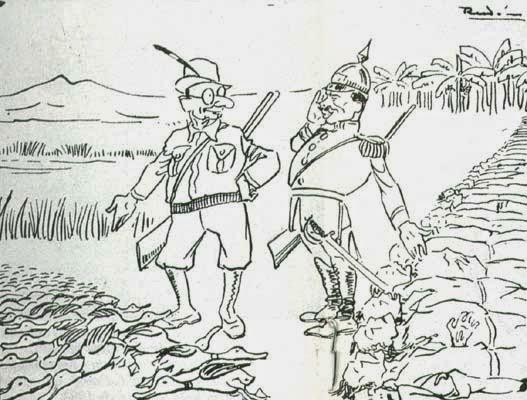 Retour de chasse (à gauche le président Abadía Méndez, à droite le général Cortés Vargas), caricature de 1930).