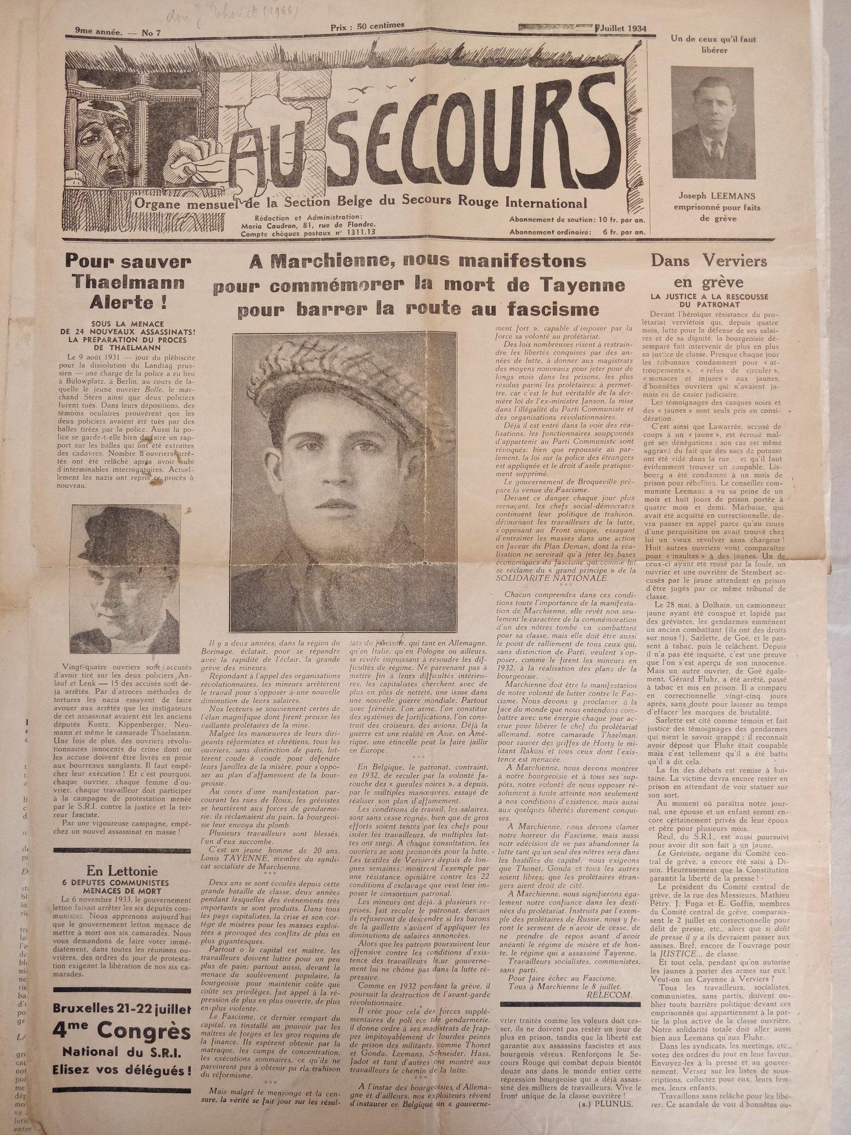 L'appel à la manifestation Tayenne 1933 dans le journal du Secours rouge