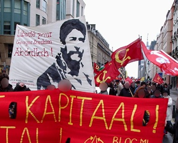 Manifestation à Bruxelles contre la guerre en Irak.