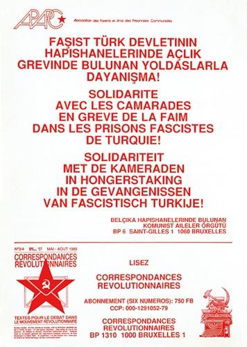 Affiche de l'APAPC pour les turcs