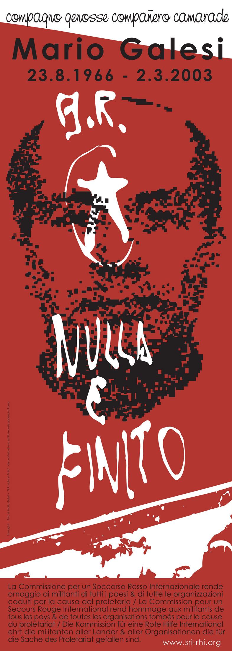 Affiche d'hommage du SRI à Mario Galesi