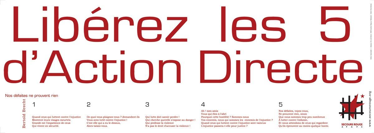 Affiche pour la libération des militants d'Action Directe - Mai 2004 - Sérigraphie
