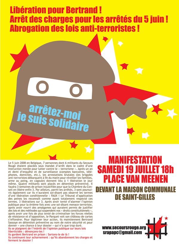 Affiche d'appel à la manifestation pour la libération des membres du Secours Rouge arrêtés le 5 juin - Juillet 2008 - Offset