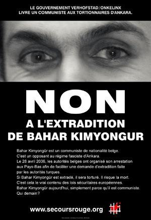 Affiche contre l'extradition de Bahar Kimyongür vers la Turquie - Mai 2006 - Offset