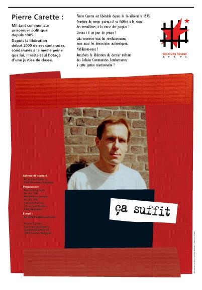 Affiche d'appel à une manifestation pour la libération de Pierre Carette - Octobre 2001 - Sérigraphie sur papier kraft