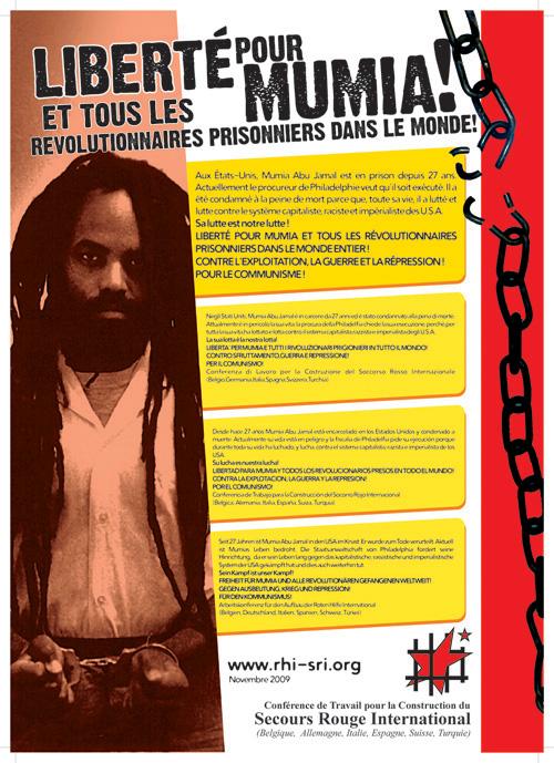 Affiche du SRI pour Mumia Abu-Jamal