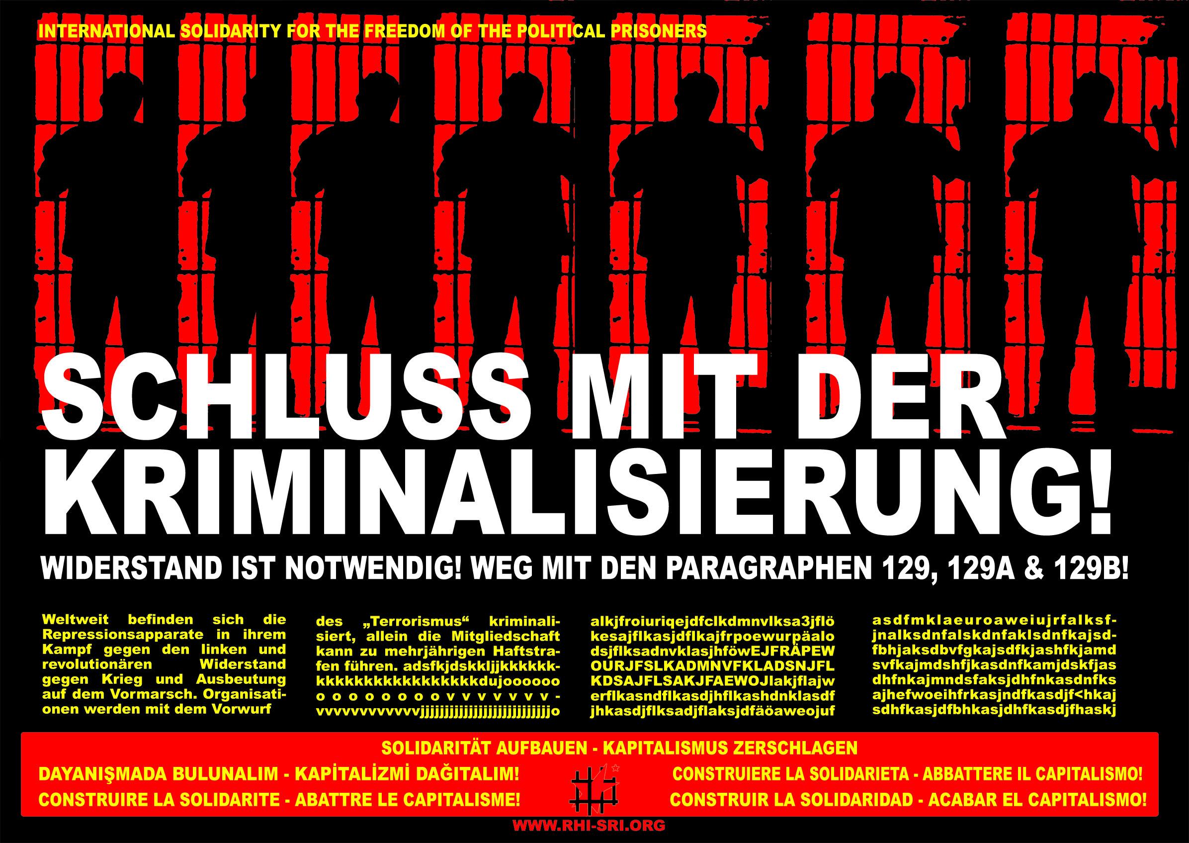 Affiche du SRI contre les § 129 en Allemagne