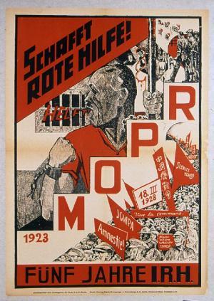 Affiche pour le cinquième anniversaire du MOPR/SRI