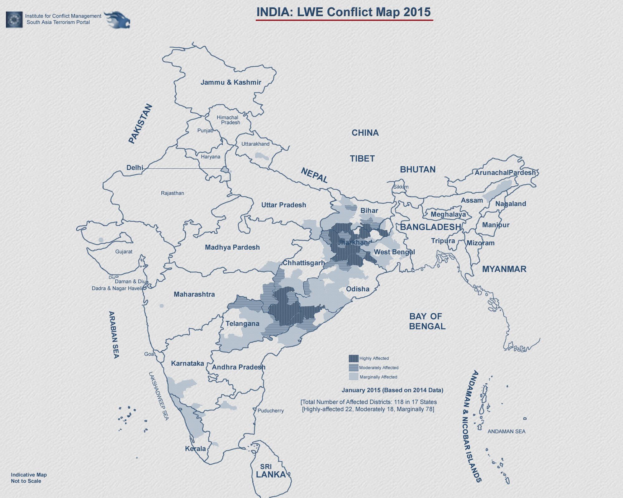 Carte des zones occupées par la guérilla en 2015