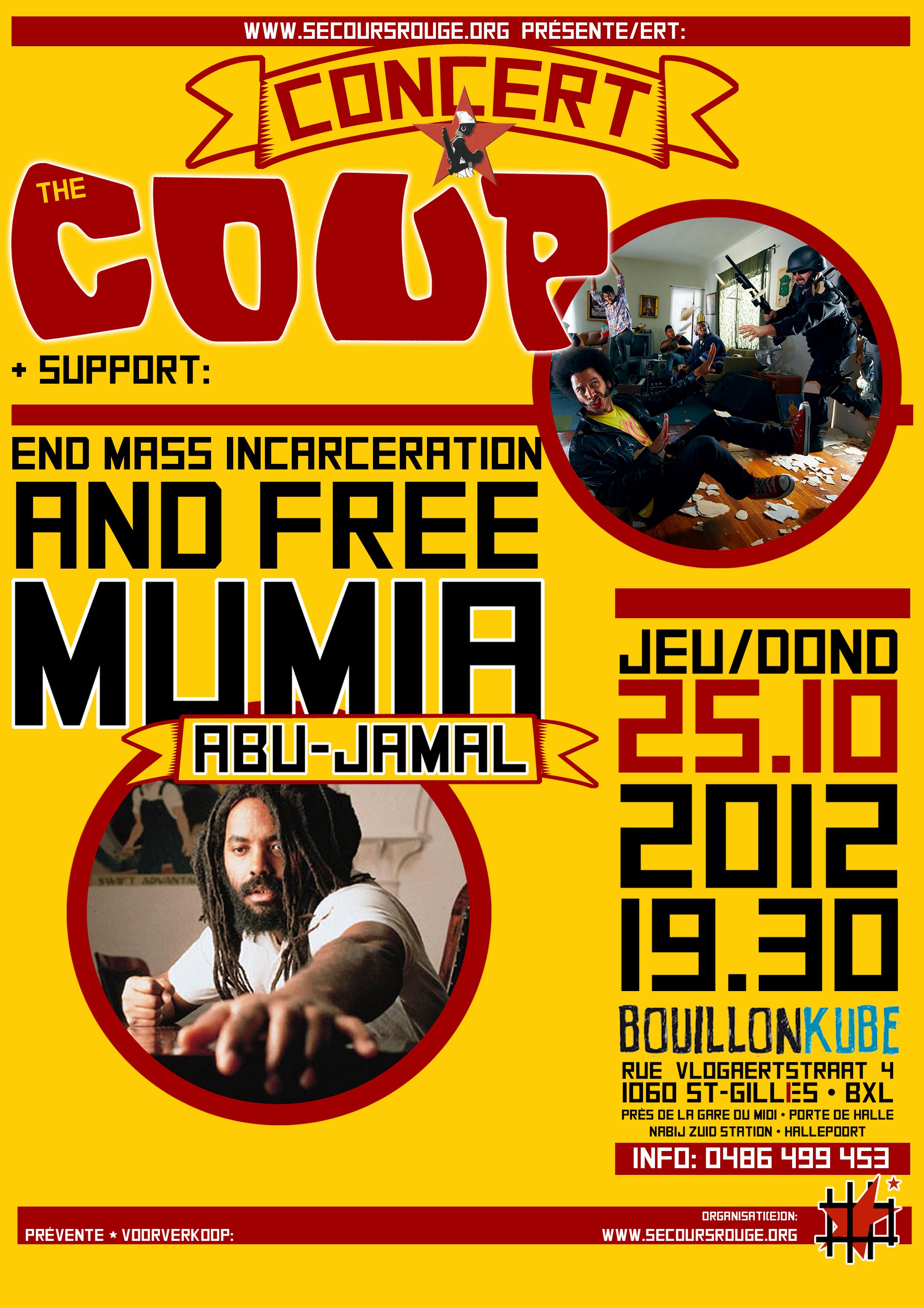 Affiche pour le concert de 'The Coup' - octobre 2012