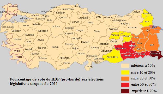Votes pour le principal parti kurde légal en 2011.