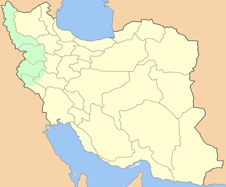 Le Kurdistan iranien en vert.