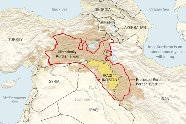 Carte du Kurdistan.