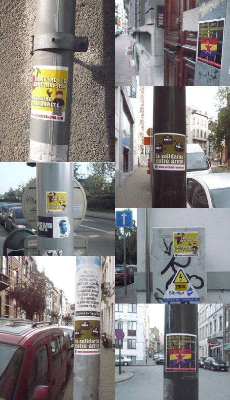 Collages des autocollants