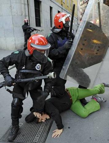 Charge policière contre la manif de la gauche basque