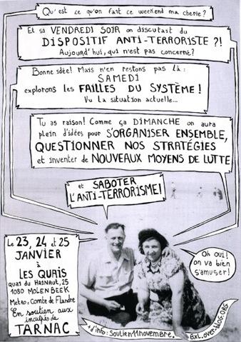 Affiche du we de débat pour Tarnac