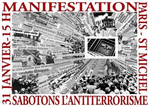 Affiche de la manifestation pour ceux de Tarnac