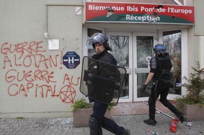 Policiers à la manifestation à Strasbourg