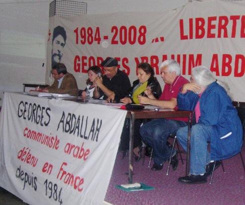 Tribune du meeting pour G.I. Abdallah