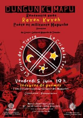 Affiche pour la soirée pour le peuple mapuche