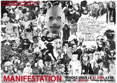 Affiche pour la manifestation antirépression pour ceux de Tarnac