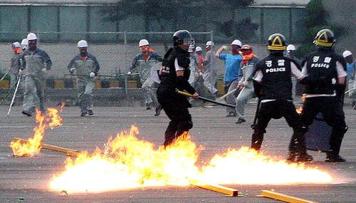 Grève à l'usine Ssangyong Motor en Corée