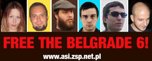 Affiche de solidarité avec les 6 de Belgrade
