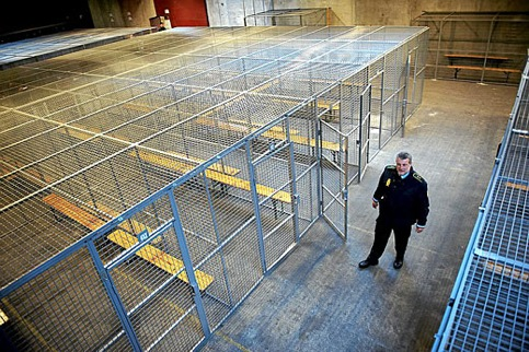 Cages du centre de rétention danois