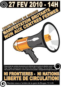 Affiche de la manif contre les centres fermés