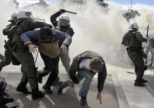 Manif anti-austérité en Grèce