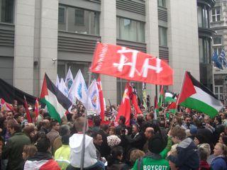 Manifestation à Bruxelles contre l'attaque du convoi humanitaire vers Gaza