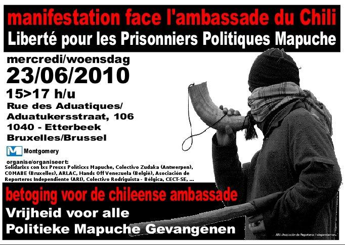 Affiche de la manifestation pour les prisonniers mapuches