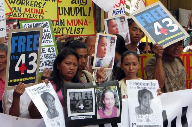 Manifestation pour la libération des 43 de Morong