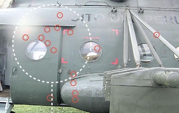 Impacts sur un hélicoptère militaire péruvien