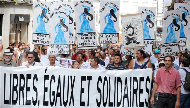 Manifestation contre la politique anti-rom de Sarkozy