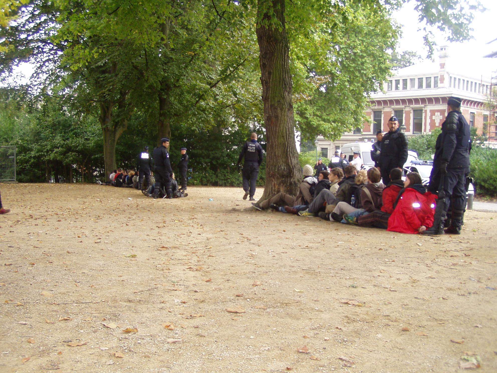 Arrestations au Parc Leopold