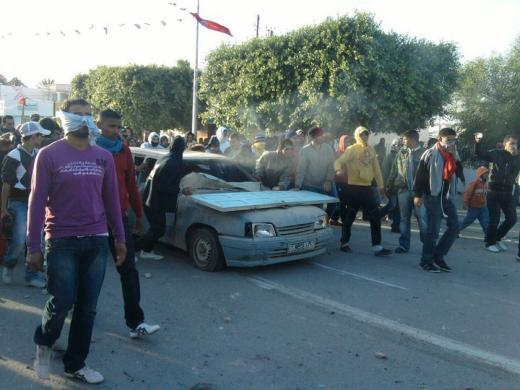 Manifestation à Menzel Bouzayane