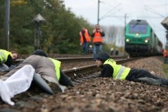 Blocage du train nucléaire à Caen