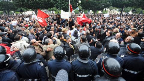 Manifestation réprimée à Tunis