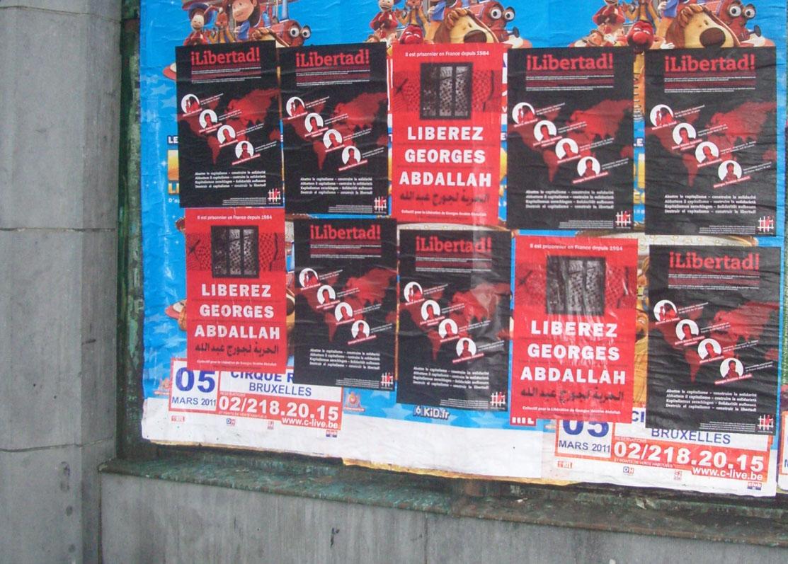 collage à Bruxelles pour G. I. Abdallah (février 2011)
