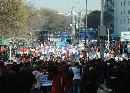Manifestation d'ouvriers à Ankara