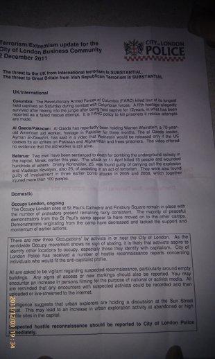 Note qualifiant 'Occupy London' de terroriste