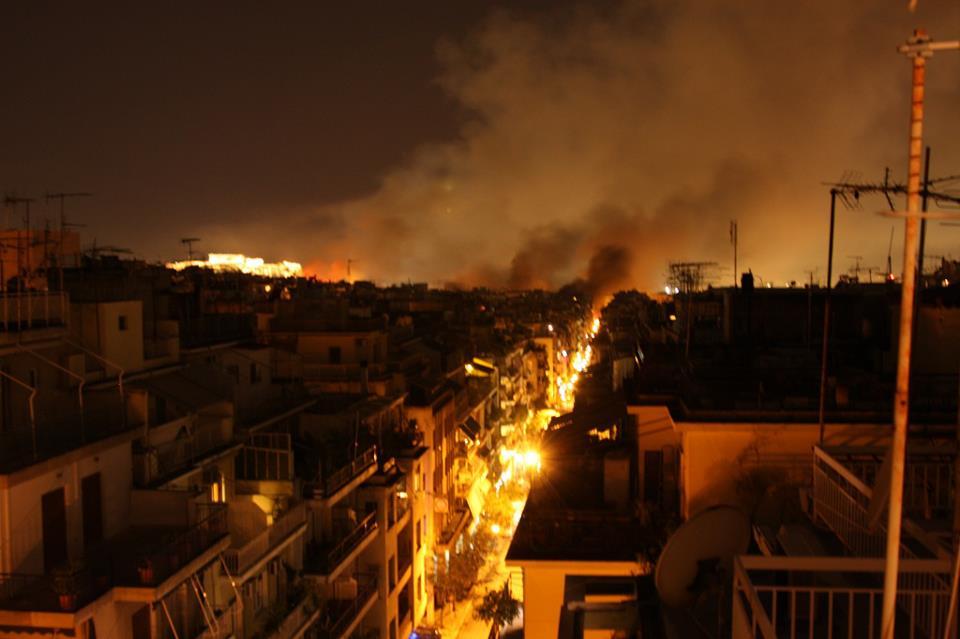 Athènes en flammes ce 12 février 2012
