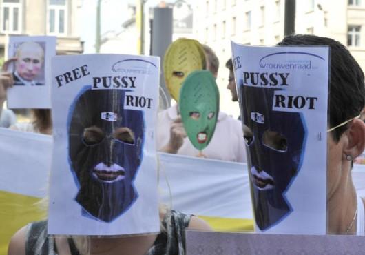 Manifestation pour les Pussy Riot à Bruxelles