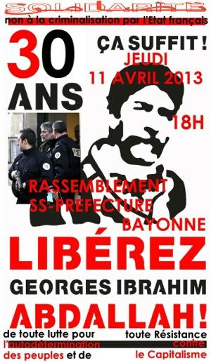 Manifestation à Bayonne pour Georges Abdallah
