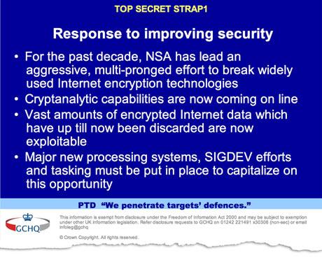 Une diapositive du GCHQ, service secret britannique