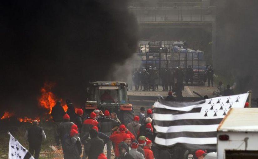 Manifestation contre l'écotaxe dans le Finsitère