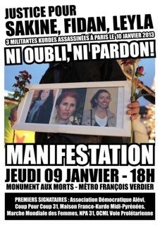 Affiche pour le rassemblement à Toulouse pour Sakine, Fidan et Leyla