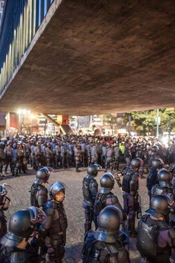 La police présente en grand nombre à Sao Paulo