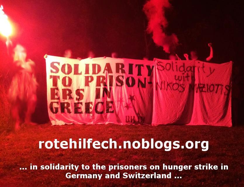 Banderole de solidarité avec N. Maziotis à Zurich